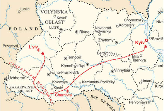 map - 15 days in Western Ukraine