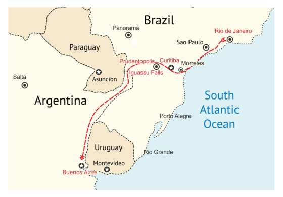 map - Fantastic tour between two of South America's most iconic cities