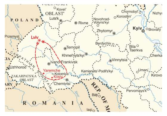 map - Four Day Carpathian Mountain Tour