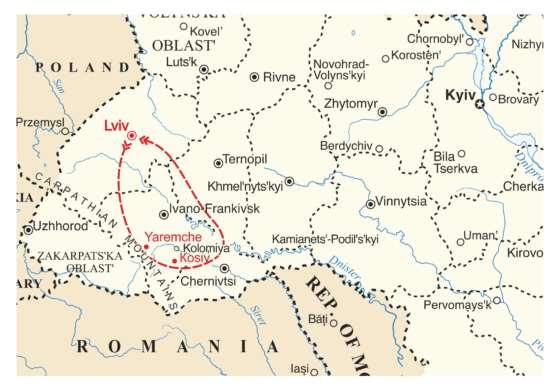 map - Four Day Trip to the Carpathian Mountains
