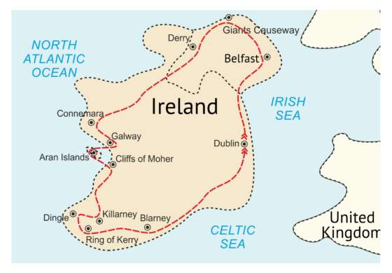 map - Visit the jewels of the Irish countryside with castles, landmarks and traditional pubs!