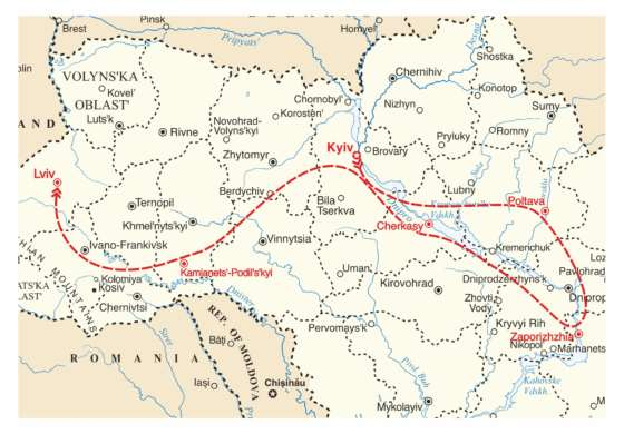 map - Walk in the footsteps of the Kozaks