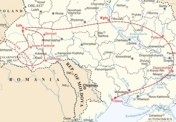 map - Combine our two new Ukraine tours, and embark on an epic 28 day adventure!