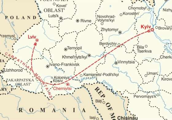 map - Sample Dance Tour to Ukraine